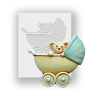 Pram And Baby Ted Silicone Mould, Food Safe, Cake Decorating, Sugarcraft Mold