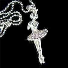 Purple w Swarovski Crystal ~BALLERINA Ballet Dancer Dance Pendant Chain Necklace