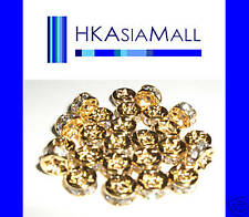 25pcs Crystal Beads Rondelle Spacer 4mm Gold/Crystal