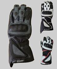 "Ladies Gunmetal Motorcycle Leather Gloves for Sports Bike - XXS 6.5"""