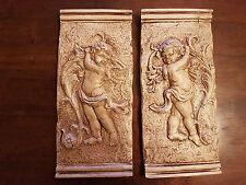 2 Architectural décoré plâtre angelot cherubin Wall Hanging Decor plaques Handmade
