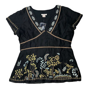 Sundance Embroidered Bohemian Top Size 10 Peasant Black Blouse S1