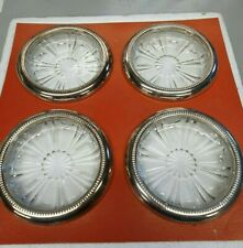 SET OF 4 SILVER PLATE GLASS COASTERS SILVER PLATE ITALY  TRAY WINE  DRINKS