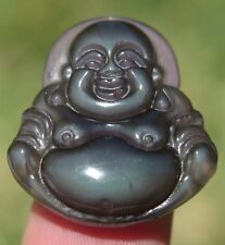 0.1OZ Natural Rainbow Ice Obsidian Crystal Buddha Pendant