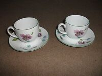 RARE PATTERN PAIR OF ROYAL WORCESTER CUPS AND SAUCERS FLOWERS AND FLY  (51)
