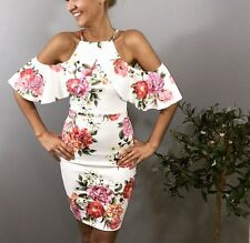 WOMENS LADIES BLACK WHITE PINK FLORAL OFF SHOULDER BODYCON SUMMER PARTY DRESS