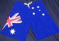 Cut Price Mens Blue Shorts Unisex Australian Flag Day Print Adjust Cord