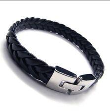 Bracelet Homme cuir tressé et fermoir sécurisé acier stainless-Gourmette