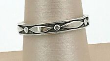 VINTAGE .925 Sterling Silver, Decorative Thin Band Ring, Size 8.5