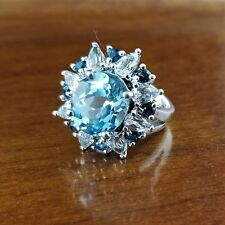 Oval London Blue & White Topaz Sterling Silver 925 Ballerina Statement Ring