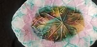 """ANTIQUE MAJOLICA POTTERY LEAF DISH plate PINK BLUE BROWN TEAL 11 1/4"""" X 8 1/2"""""""