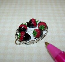 Miniature Adinolfi Silver Tray of Chocolate Covered Strawberries: Dollhouse 1/12