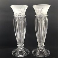 "2 Candle Holder / Bud Vases Etched Cut Glass with Candle Inserts 8.5"" Tall"