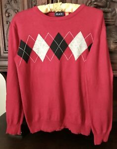 The Childrens Place Tcp Argyle L/S Sweater Boys Red Size Xl 14 TCP Christmas