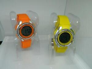 Bently Unisex Yellow,Orange LCD Digital Alarm Chronograph watches,silicon  strap
