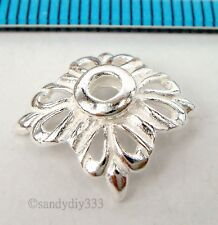 2x BRIGHT STERLING SILVER SQUARE FLOWER SPACER BEAD CAP 11.7mm #1772
