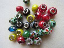20 Lampwork Big Hole Round Beads European Charm Bracelets Assorted Designs