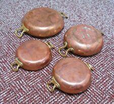 More details for 4 x copper & brass vintage gratin pans - largest is 18cm diameter -