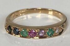 """DEAREST"" 9CT GOLD MULTI SET STONE DIAMOND SAPPHIRE EMERALD RUBY AMETHYST RING"