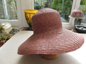 Laura Ashley vintage ladies straw hat quality wear brim up or down stylish
