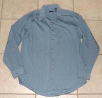 VAN HEUSEN Mens Medium 38 / 40 (15 - 15 1/2) Blue Button Up Long Sleeve Shirt