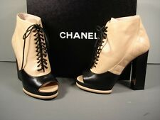 CHANEL 38 RUNWAY BLACK BEIGE OPEN TOE BOOTIE ANKLE BOOTS PUMPS SHOES  NEW $1372