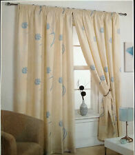 "66"" X 72"" FLEUR FLORAL READY MADE LINED CURTAINS TEAL CREAM IVORY 100% POLYESTER"