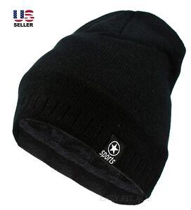 Mens Winter Thermal Beanie Hat Knit Fleece Fur Lined Warm Cuff Cap Ski Skull