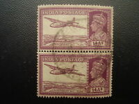 INDIA 1940-43 14 Annas Purple FINE USED Vertical PAIR faint HINGE GHOSTS.