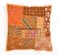"""Indian Patchwork Pillow Throw Orange Bohemian Cushion Cover 16X16"""" Inches Cases"""