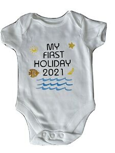 😍🥰🤩 Personalised My First Holiday 🤩🥰😍 Baby Vest