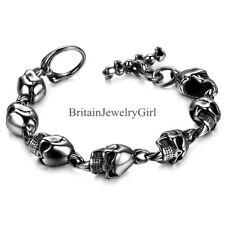 """8.27"""" Men's Boy Stainless Steel Gothic Skull Biker Chain Bracelet Halloween Gift"""