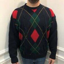 Vintage Woods & Gray XL Sweater Pullover Mens Argyle Blue Cable Knit Crew