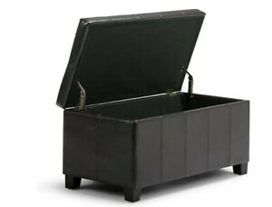 Simpli Home Dover Rectangular Storage Ottoman Tanners -  Brown