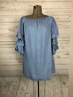 Zara Women's Lyocell Blue Shirt Top Blouse Ruffle Puff Sleeve Size Small