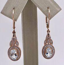 Antique Style Aquamarine & Diamond Solid 14K Rose Gold Dangle Earrings New