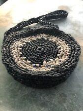Plarn Round Bag In Black Beige And Grey-Batooli Bags