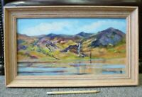 Welsh Art Acrylic on Board Painting Myrna Lowens 2001 Mountains & Lake Framed