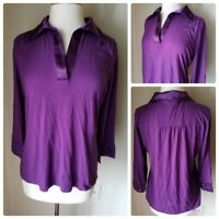 Covington Women's Top Blouse Large Stretch Purple V Neck 3/4 Sleeve Collared B1