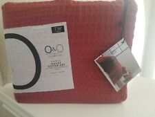 O&O Olivia & Oliver Waffle Textured TWIN Duvet Cover Set in Terracotta