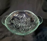 """Vintage glass Bowl  Roses 10"""" heavy with handles"""