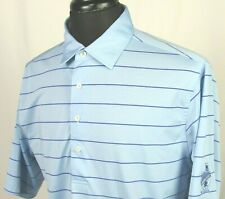 Men's Donald Ross Short Sleeved 100% Polyester Striped Polo Golf Shirt Medium
