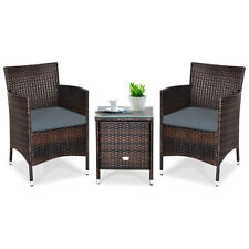 Outdoor 3 PCS PE Rattan Wicker Furniture Sets Chairs  Coffee Table Garden Gray