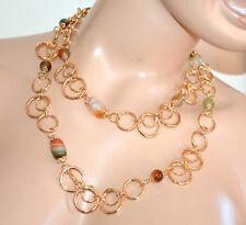 COLLANA ORO PIETRE lunga girocollo donna anelli dorata collier verde ambra G1