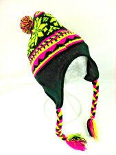 Knitted Ear Flap Hat/Cap Acrylic Pink Green Beanie Ski Snowboard