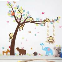 Cartoon Wild Animals Monkey Tree Wall Sticker Kids Room Decal Nursery Decor G