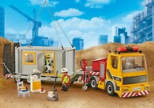 playmobil 9898 camion semi porte engin chantier container gyrophare offert neuf