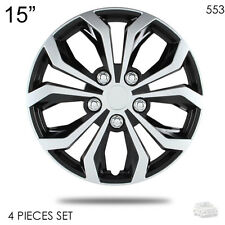 "NEW 15"" ABS SILVER RIM LUG STEEL WHEEL HUBCAPS COVER 553 FOR VW"