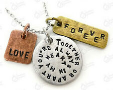 Together Or Apart You're Always In My Heart Three Tone Three Charm Necklace Frie