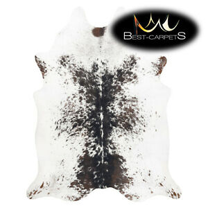 AMAZING artifical Cowhide Rug Cow printed white brown salt & pepper Large size